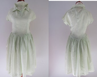 50s Pale Green Sheer Floral Day Dress, XS // Vintage Hand Made Ditsy Print Tea Party Dress