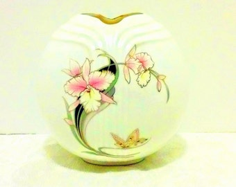 Japanese Fine China Gilt Orchid Vase Art Deco Styling