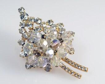 Vintage Verified Juliana (D&E) Aurora Borealis Rhinestone Crystal Bead Cha Cha Dangle Pin Brooch