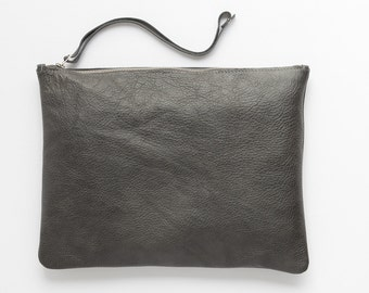 Grey leather clutch - Oversized clutch - soft leather purse