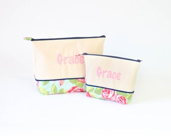 Medium and Large Set of Monogrammed Cosmetics bags- Lilly Like #7 and Navy and Light Pink