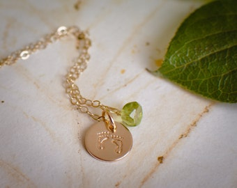 Baby Feet Necklace w/ Birthstone - Tiny 14k Gold Filled New Baby New Mommy Pendant w/ Choice of Gemstone
