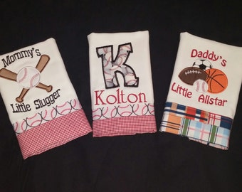 Set of 3 Boys Personalized Burp Cloths