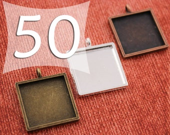 20 mm Square Pendant Tray Silver, Antique Bronze or Antique Copper for Clear Glass or Resin