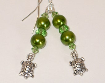 Lime green pearls and crystals with turtle charm earrings.
