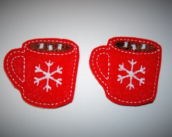 Set of 2 Hot Chocolate Feltie Felt Embellishments