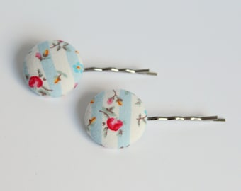 Floral Button Hairslides, Blue & White stripe Hair pins, Fabric Covered Button slides, stocking filler stuffer