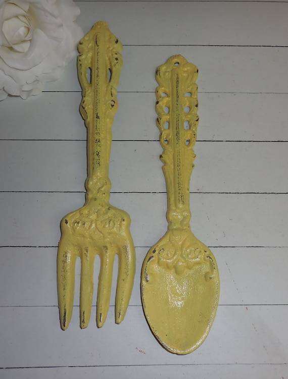 Https Www Etsy Com Listing 173916970 Yellow Fork And Spoon Set Kitchen Wall