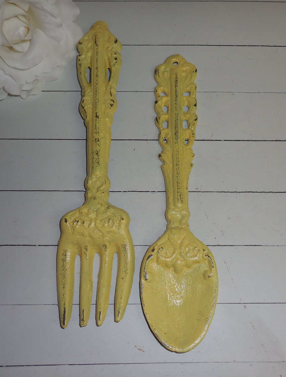 Yellow Fork And Spoon Set Kitchen Wall Art By
