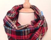 Allie Mac Infinity Scarf OOAK Classic Plaid Flannel timeless Red Black Tan Blue Timeless