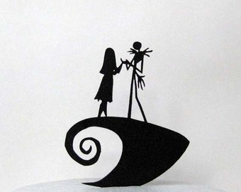 Wedding Cake Topper The Nightmare Before Christmas Jack Sally Silhouette