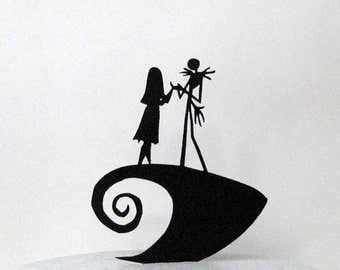 Wedding Cake Topper -The Nightmare Before Christmas Jack & Sally silhouette