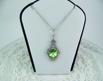 Peridot Crystal Necklace, Peridot Rivoli, Swarovski Crystal Peridot, August Birthstone Necklace, Bezel Set Peridot, Green Crystal Necklace
