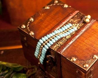 Funky woven turquoise  macrame bracelet