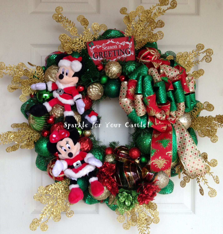 Used Disney Christmas Decorations: Disney Christmas Wreath Mickey And Minnie Mouse Wreath Santa