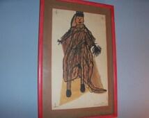 Vintage Handmade Children's Artwork Wall Decor Drawing Framed Prince Princess