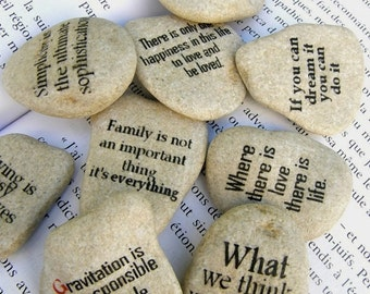 quote on stone, quote art, quote gift, quote beach stone, group gift , set of 20 stones with quotes,  wedding guest gift,personalized gift