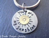 You are my sunshine keychain mixed metal