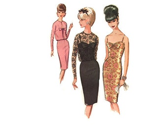 60s Cocktail Dress With Jacket McCalls 7511 Size 14  Bust 34 Sheath Dress Has Camisole Top Open Front Jacket Vintage 60s Dress Pattern Uncut