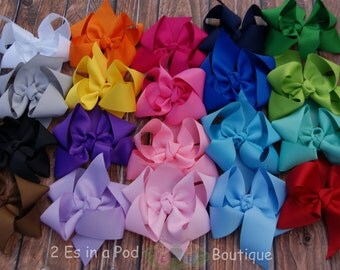 5 Solid Color Boutique Bows with Tails Hand Sewn and Heat Sealed
