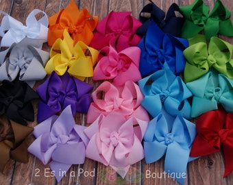 10 Solid Color Boutique Bows with Tails Hand Sewn and Heat Sealed
