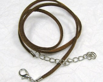 "Brown Suede Pendant Cord 19"",  Light Brown Suede Leather Pendant Necklace Cord, Pendant, Necklace Cord.  Lobster Clasp Cord"