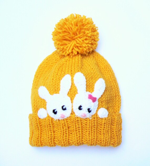 Bunny Hat Kids Winter Hat Knit Girls Hat Rabbit Hat Beanie