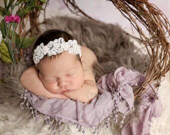 baby headband, newborn headband, bling headband, baby headband, vintage headband, pearl applique headband, baptism headband, wedding head
