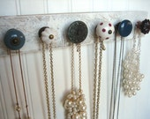 Jewelry Display with Six Unique Knobs / Dusty Blue and Ruby Rack / Jewelry Organizer