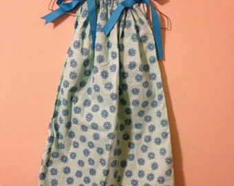 Blue Floral Pillowcase Dress Size 7