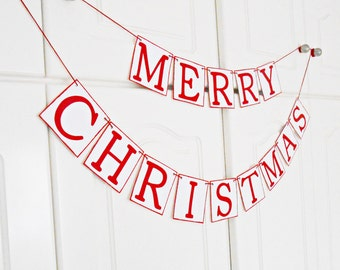 FREE SHIPPING, Merry Christmas banner, Holidays decorations, Merry Christmas garland, Photo prop banner, Red and white Christmas banner