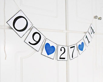 FREE SHIPPING, Save The Date banner, Bridal shower banner, Engagement party decoration, Wedding garland, Bachelorette party decor, Navy blue
