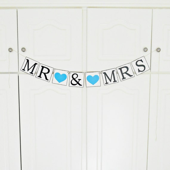 FREE SHIPPING, Mr & Mrs Banner,  Wedding Banner, Reception sign decoration, Engagement party decor, Photo prop, Bachelorette party, Blue