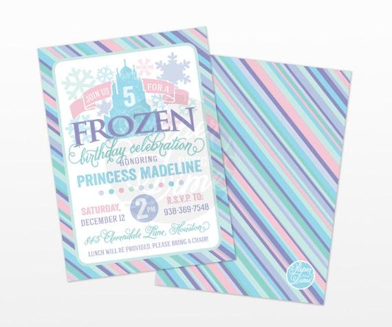 Frozen birthday invitation Elsa Anna winter inspired snowflake birthday girl personalized custom | Digital  File, You Print