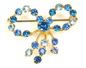 Vintage Sapphire Blue Rhinestone Bow Tie Brooch