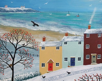 Print of English seaside landscape in winter from an acrylic original painting 'Winter Beside the Sea' by Jo Grundy