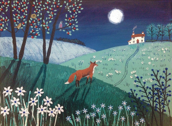 On Top of Midnight Hill - mounted limited edition giclee print of a fox at night