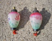 Antique Christmas Glass Light Bulbs Lantern With Tassels Tested DO NOT Work