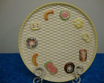 Vintage Majolica Cookie Plate