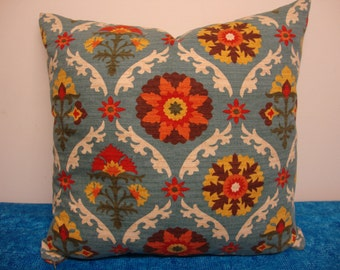 Blue Throw Couch Pillow Floral Design