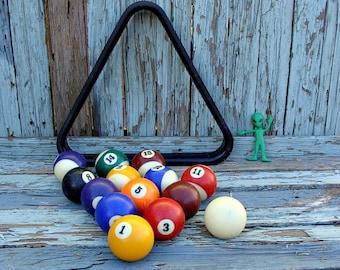 14 Vintage Pool Balls Billiards Incomplete Set With Rack