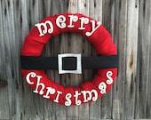 Merry Christmas/ Holiday/ Santa/ HoHoHo Burlap wreath with belt