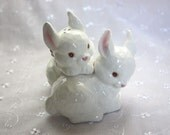 Vintage White Bunny Rabbit Salt and Pepper Shakers