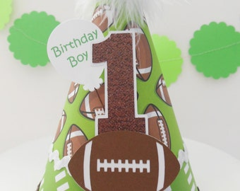 Lil' Touchdown Football Birthday Party Hat - Green, Brown, White - Personalized