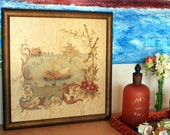 1920s-1930s embroidery silk needlepoint, Rare antique framed collectible artwork, Fine antique wall art for collectors,  FREE SHIPPING