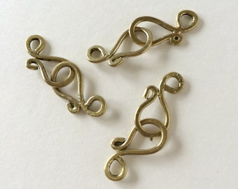 Small Brass S Hook, Shepard's Hook Clasp, Brass S Hook Clasp, 19mm, 4 Sets