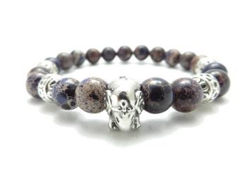 Sacred Elephant Mala Bracelet Yoga Jewelry Healing Meditation Purple Imperial Jasper Wrist Mala Meditation Beads Christmas Stocking Stuffer