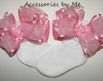 Frilly Baby Socks, Light Pink Bow Socks, Pink Organza Satin Ribbon Socks, Infant Pink Socks, Flower Girls Pink Socks, Toddler Pink Bow Socks