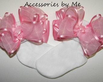 Frilly Baby Socks, Light Pink Bow Socks, Pink Organza Satin Ribbon Socks, Infant Pink Socks, Flower Girls Pink Socks, Toddler Pink Bow Socks