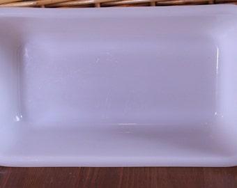 Vintage Glasbake Milk Glass 1 1/2 Quart Loaf Pan 1960's Made in USA
